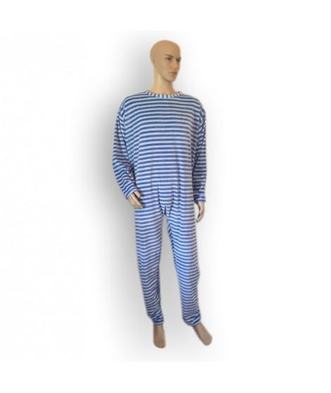 Grenouillère pour adulte sans pieds  en coton éponge uni - ouverture dans le dos