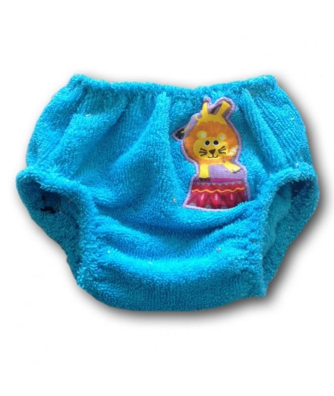 Culotte en coton éponge bleue pour bébé avec aplliqué